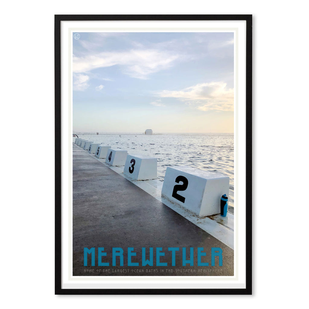 Merewether Pool vintage travel poster black frame by places we luv
