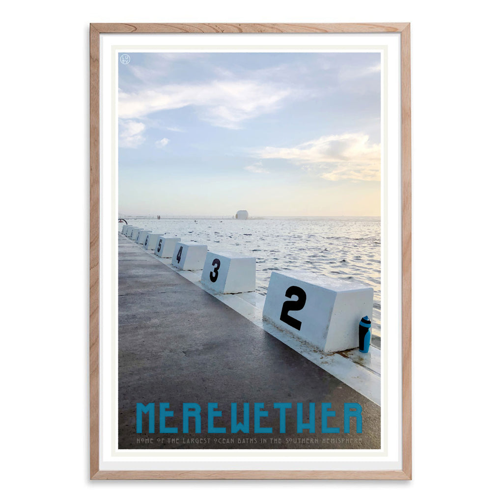 Merewether Pool vintage travel poster in oak frame by places we luv