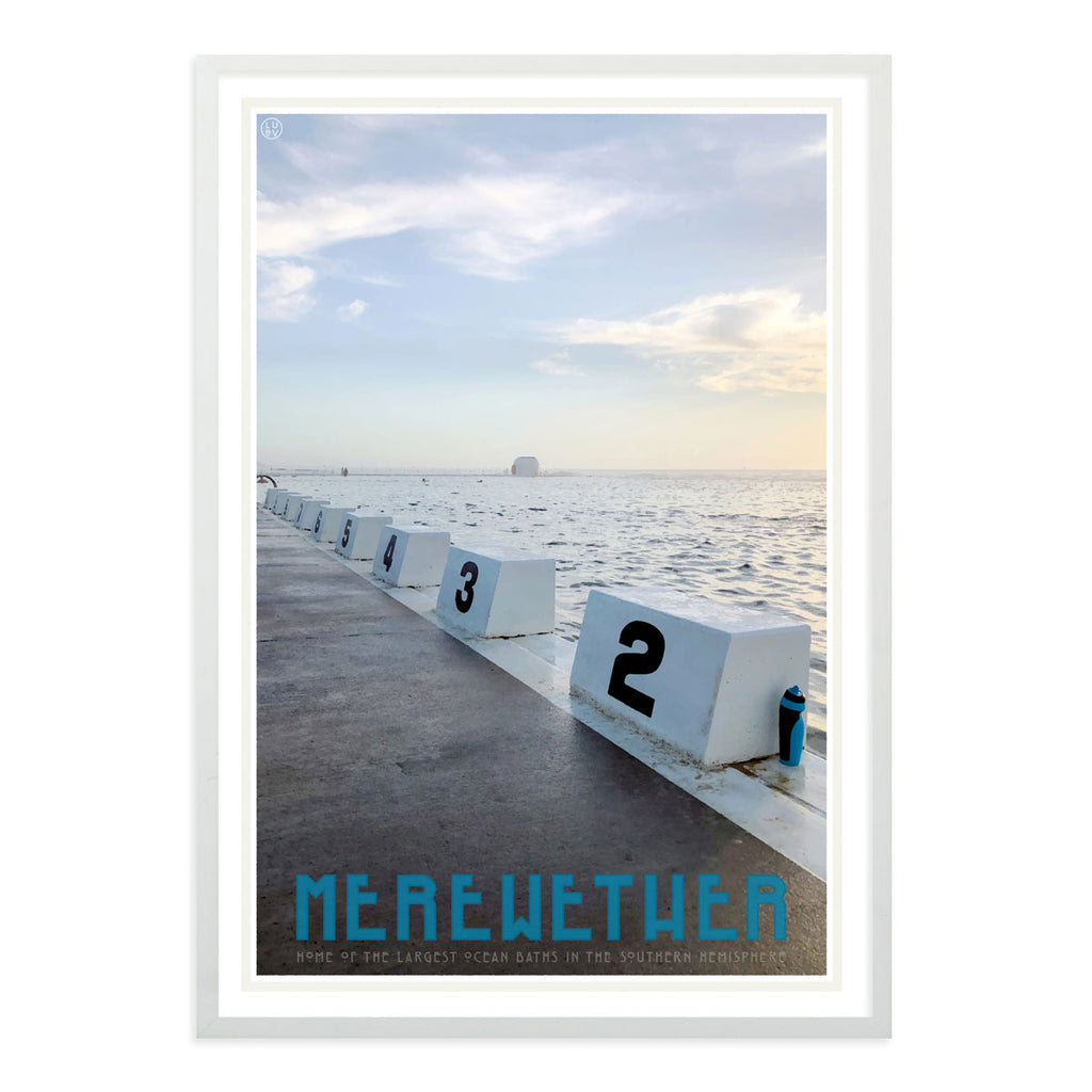 Merewether Pool vintage travel poster in white frame by places we luv