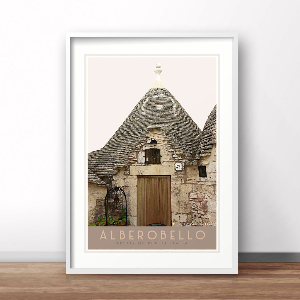 Travel print of Alberobello Italy. Original wall art from Places We Luv