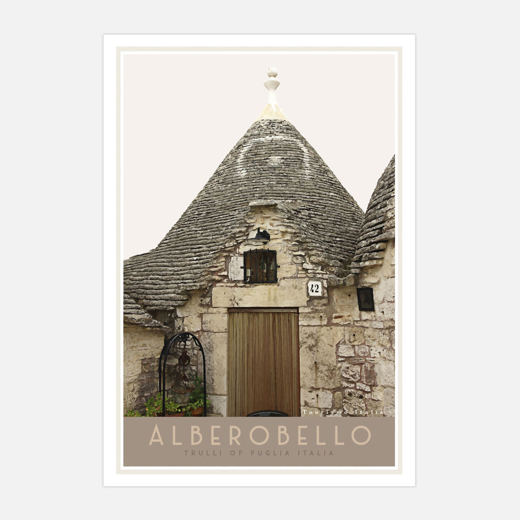 Travel poster of Alberobello Italy. Original wall art from Places We Luv