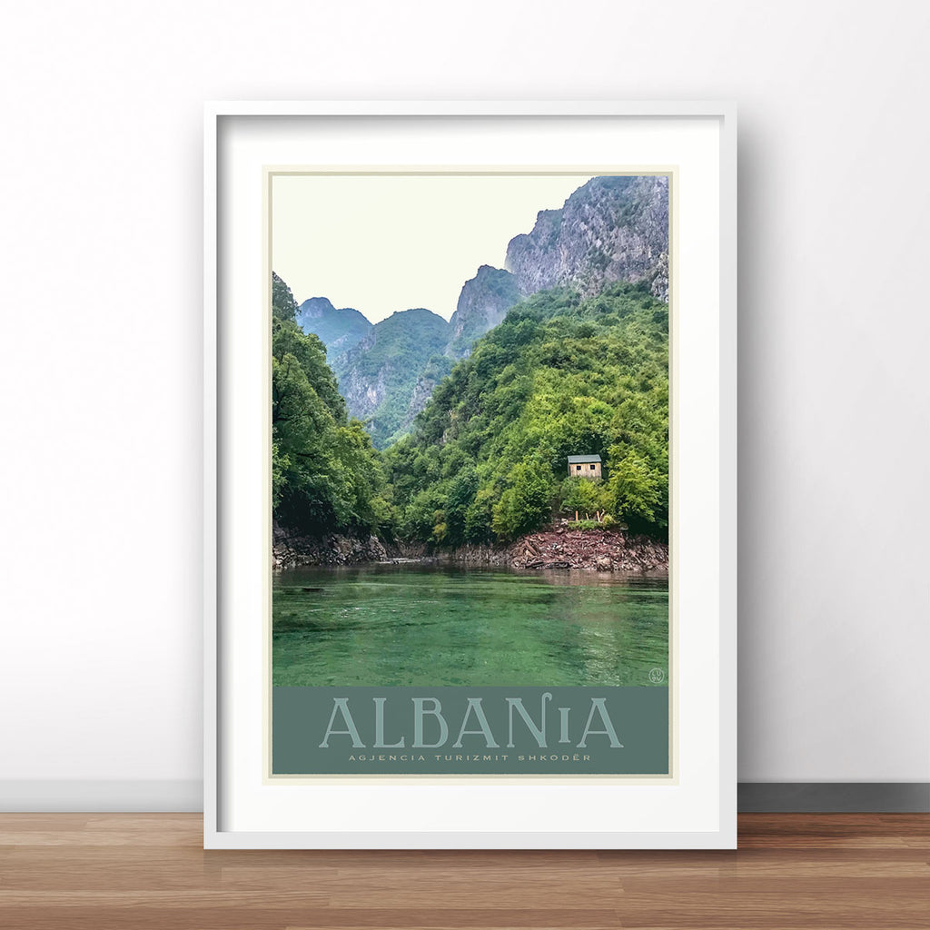 Albania vintage travel style poster by places we luv