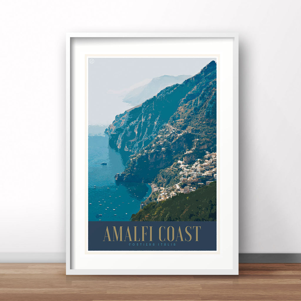 Amalfi Coast Italy vintage travel style poster by places we luv