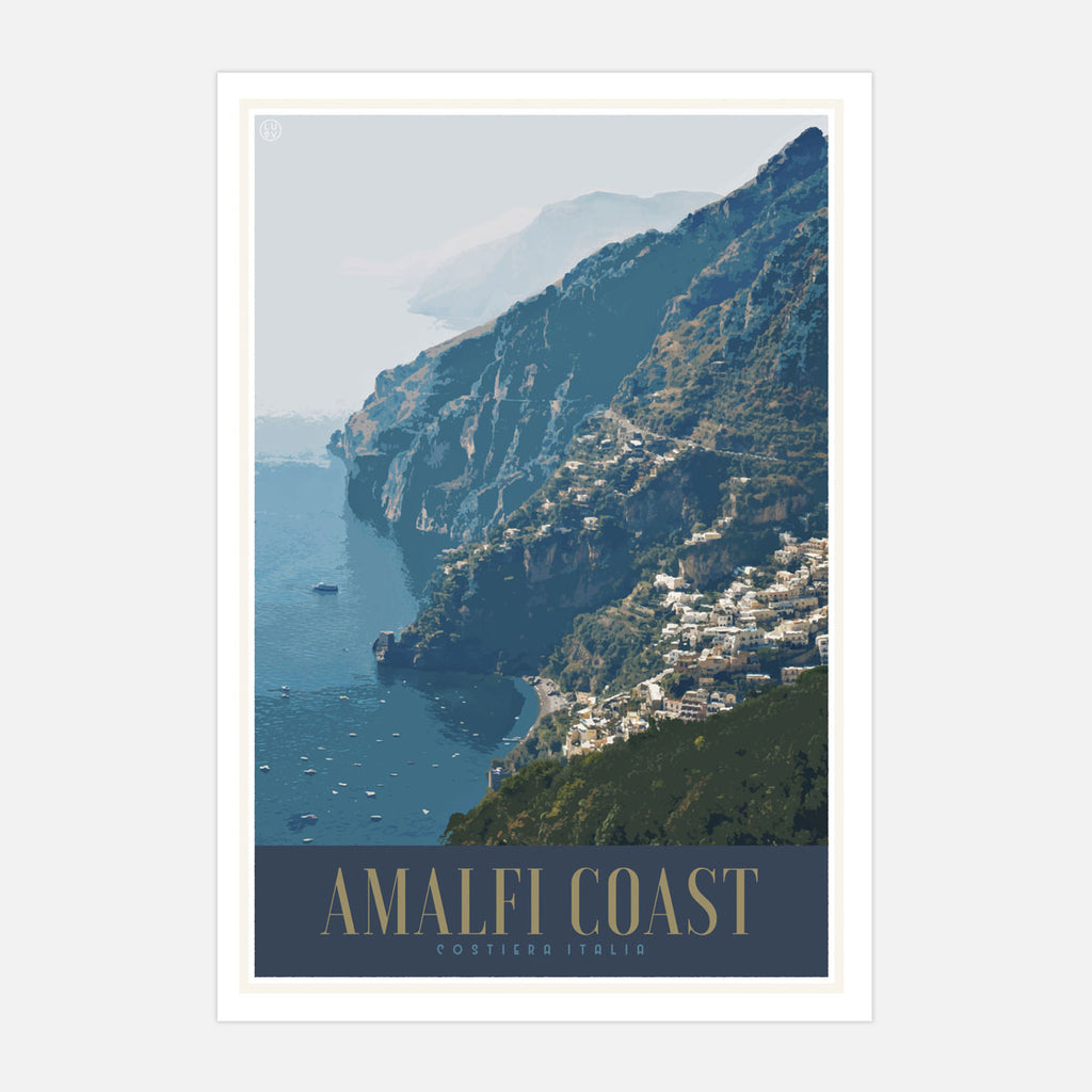 Amalfi Italy vintage travel style poster by places we luv