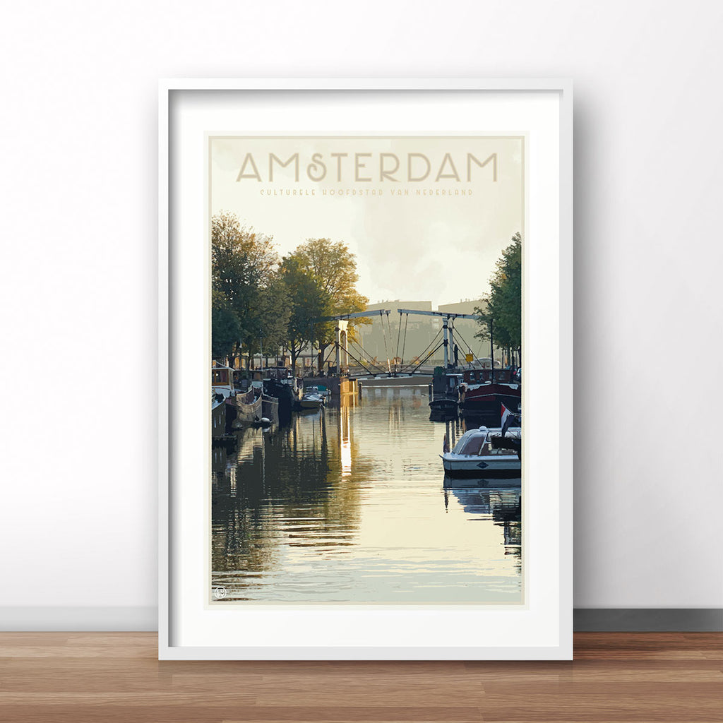 Amsterdam vintage travel style poster by places we luv