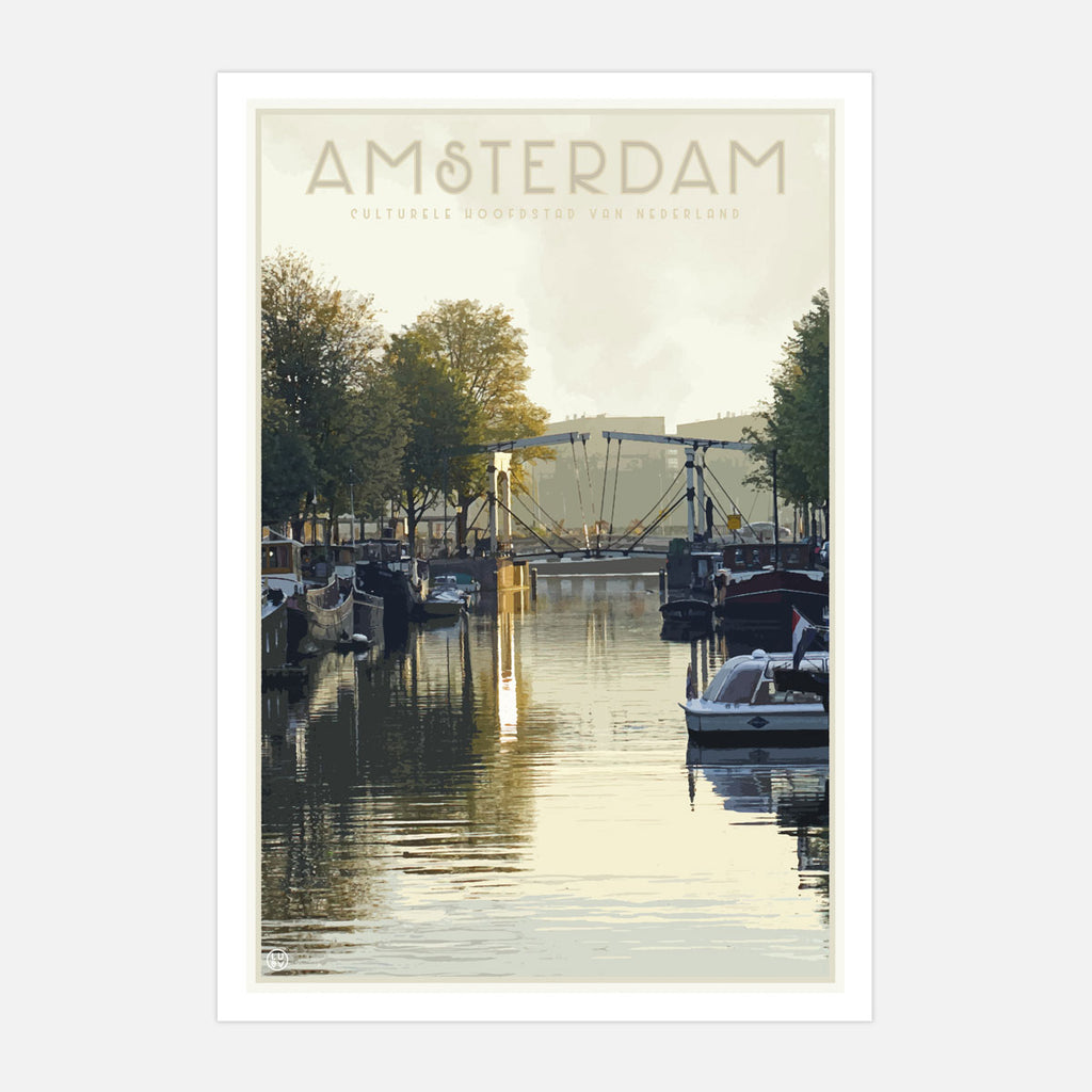 Amsterdam vintage travel style print by places we luv