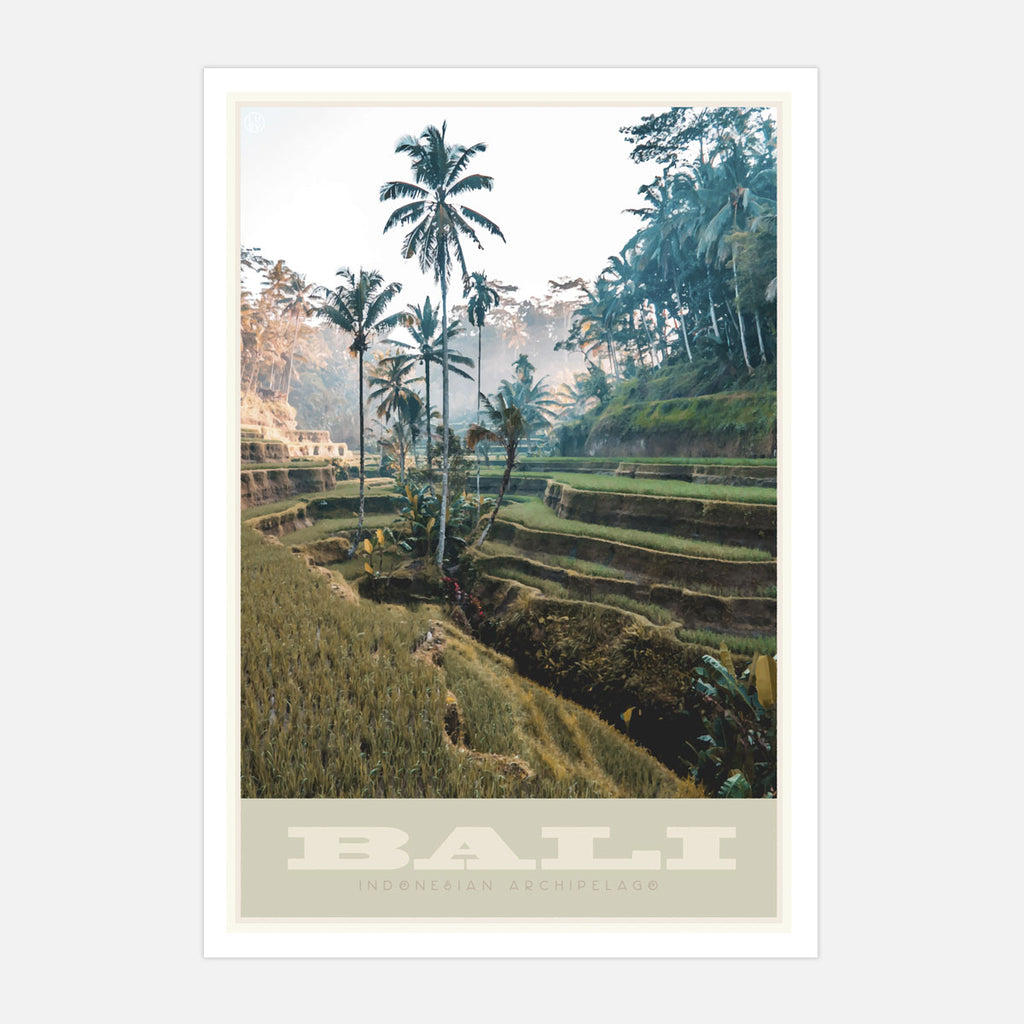 Bali Indonesia vintage travel style art poster by Places We Luv