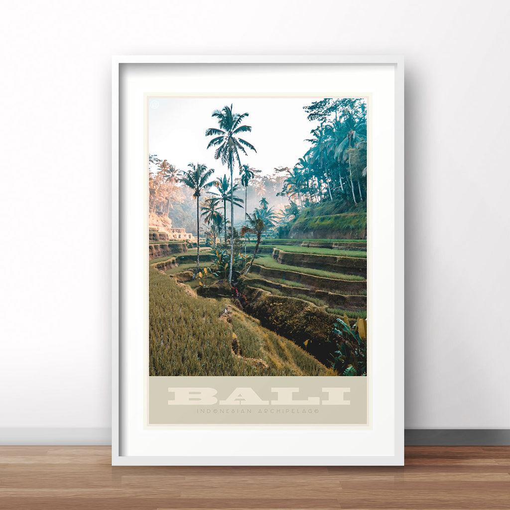 Bali Indonesia vintage travel style framed art print by Places We Luv