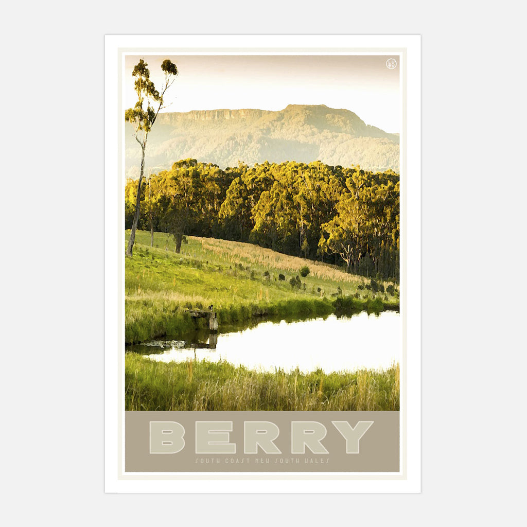 Berry vintage travel style poster by Places We Luv