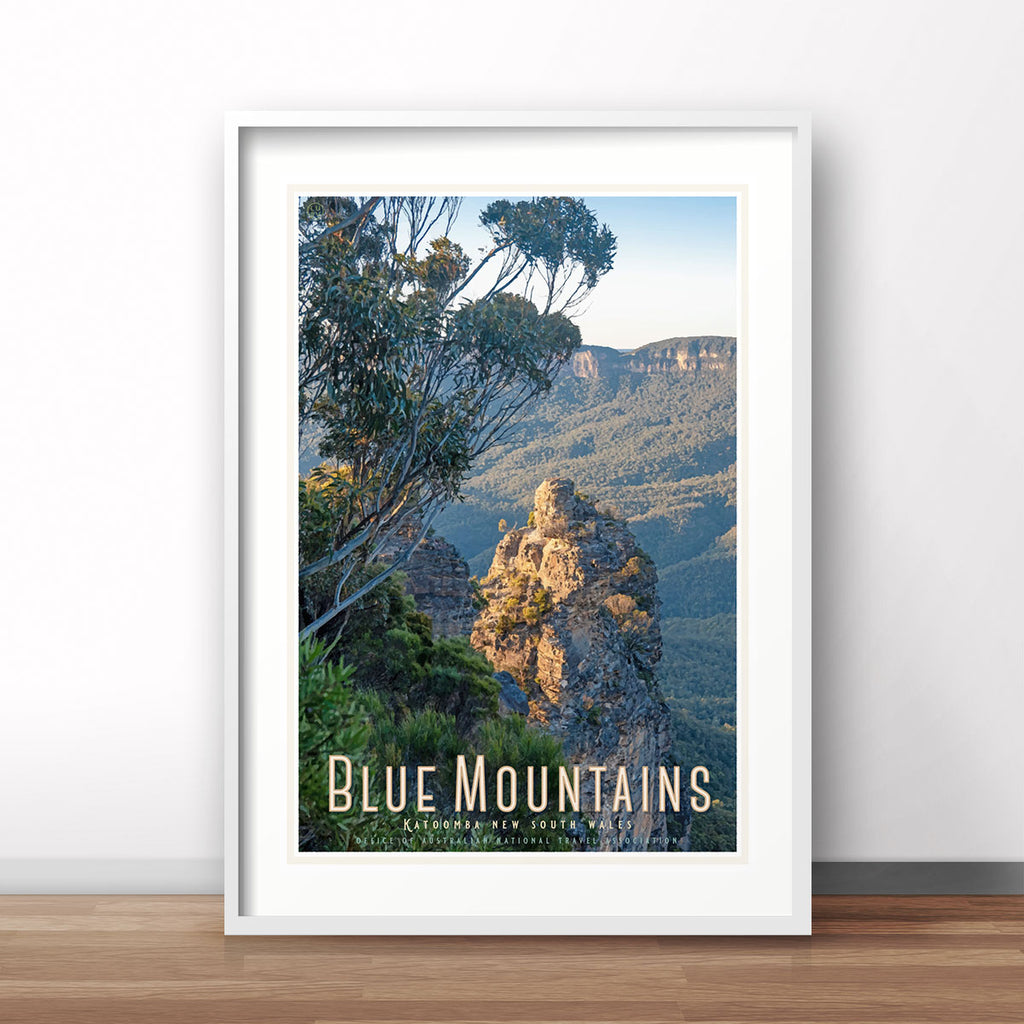 Katoomba Blue Mountains travel print original design by Places We Luv