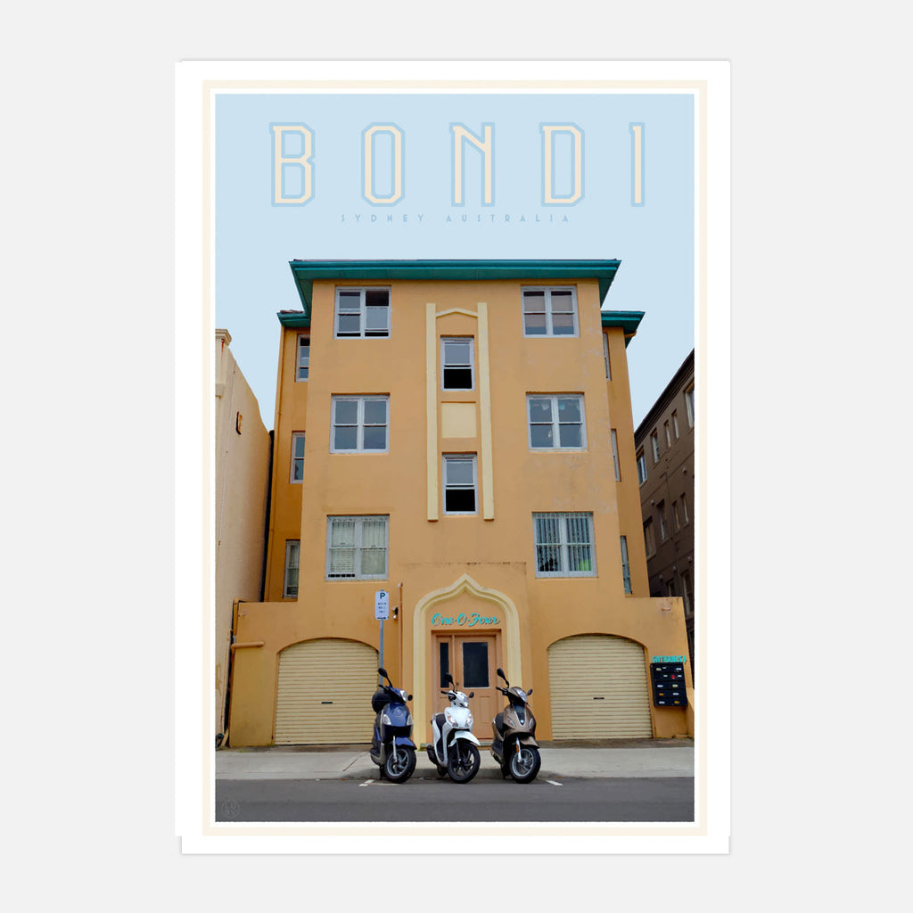 Bondi Art deco building. Vintage travel style poster by Placesweluv