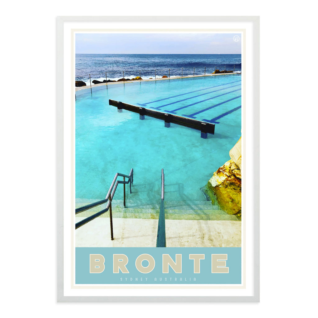 Bronte blue pool vintage travel style white framed print by places we luv