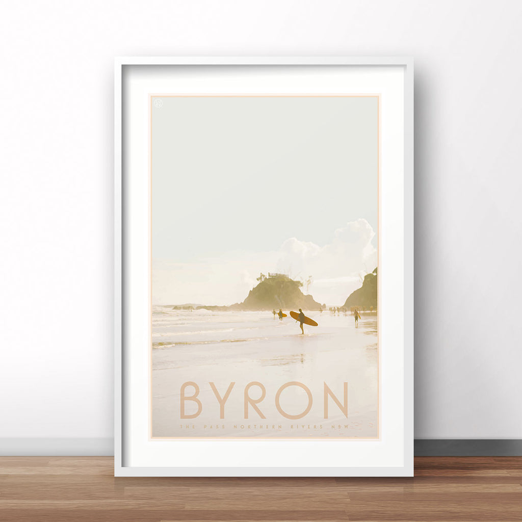Byron vintage travel framed art print by Places We Luv
