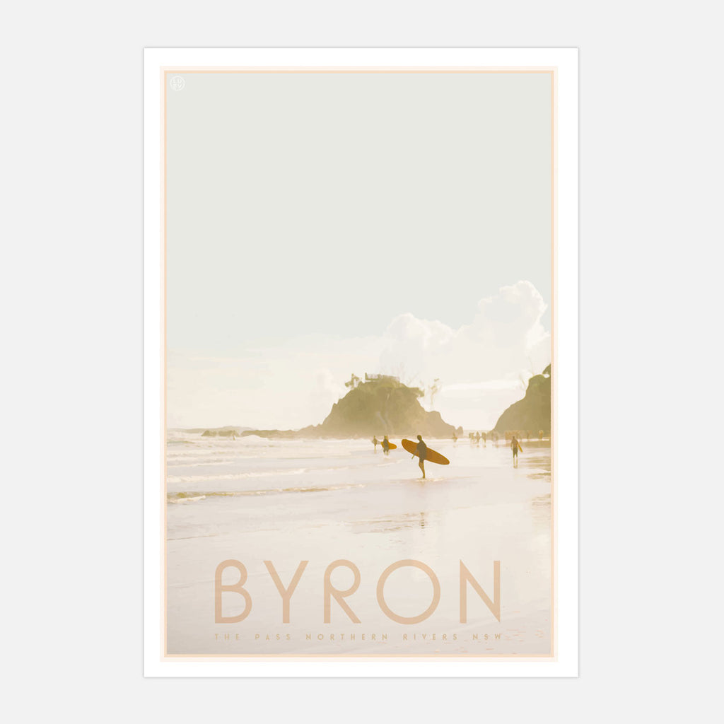 Byron Bay vintage travel framed art print by Places We Luv