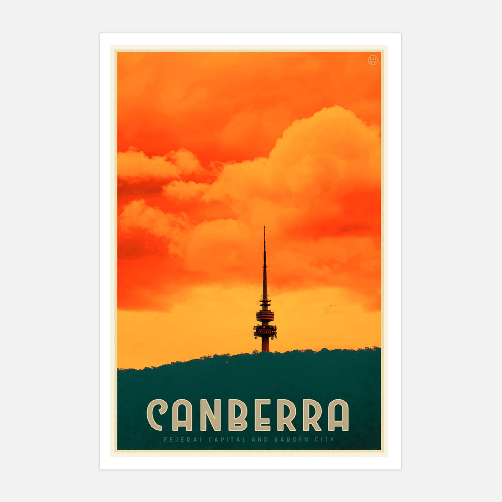 Canberra ACT vintage style travel print by placesweluv