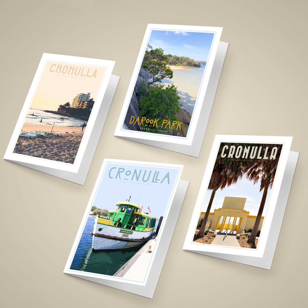 Sutherland shire Sydney Greeting Cards original designs, vintage travel style by placesweluv