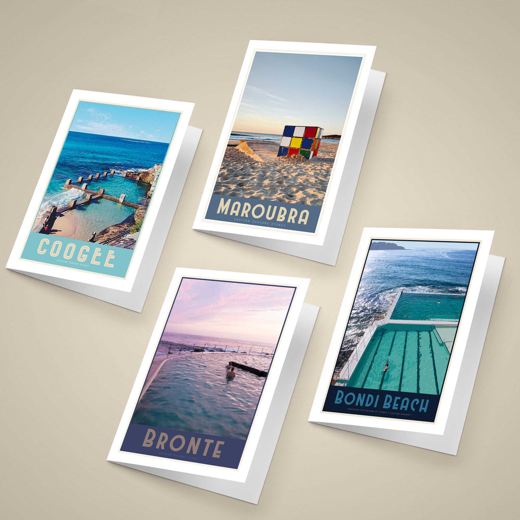 Eastern Suburbs Sydney Greeting Cards original designs, vintage travel style by placesweluv