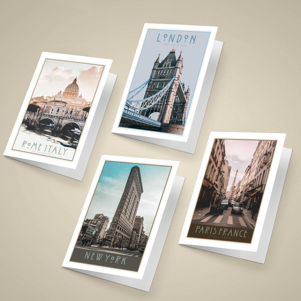 World City Greeting Cards - vintage travel style by places we luv