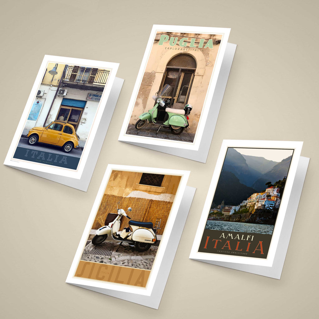 Italy Greeting Cards original designs, vintage travel style by placesweluv