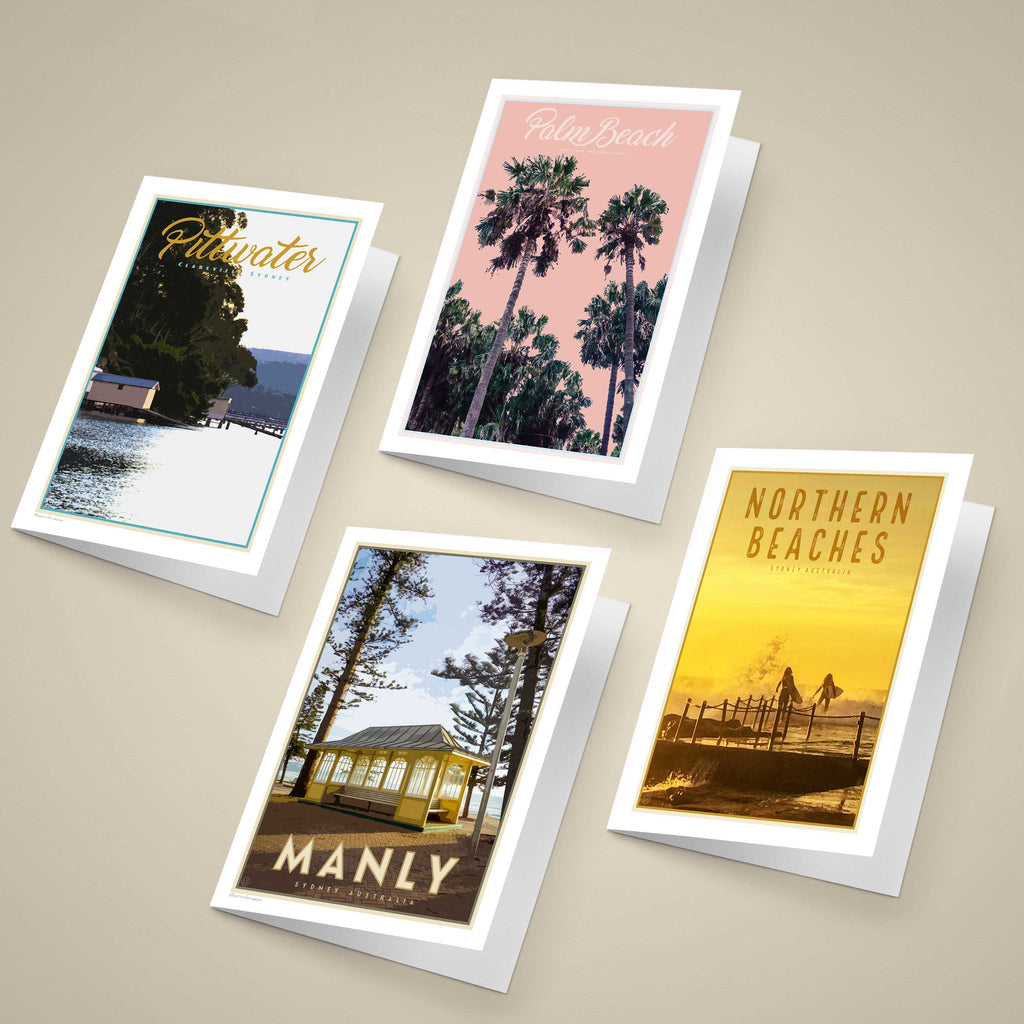 Northern Beaches Sydney Greeting Cards original designs, vintage travel style by placesweluv
