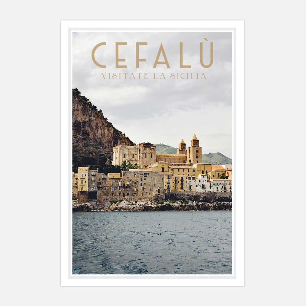 Cefalu Sicily, vintage travel style print by places we luv