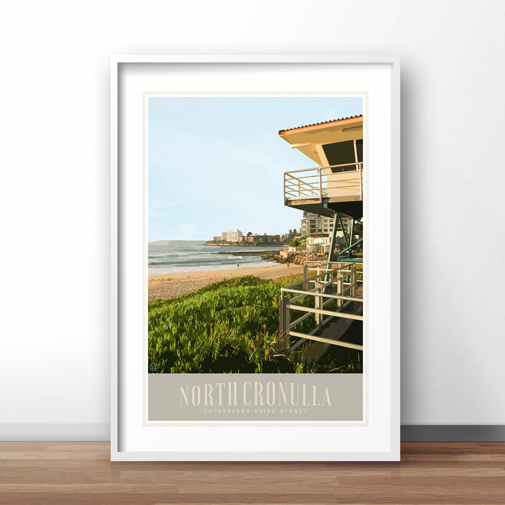 Cronulla North travel print - original design by Places We Luv