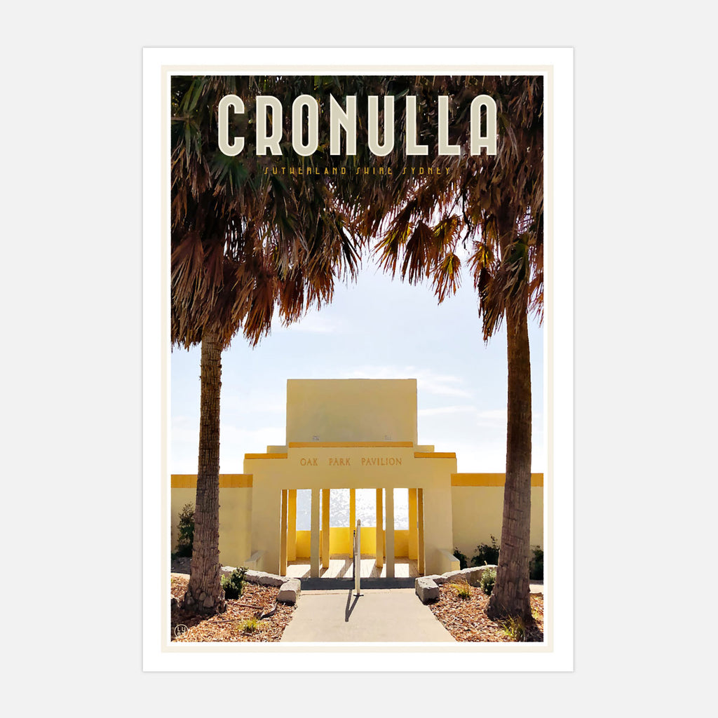 Cronulla Oak Park vintage travel poster and framed prints by Placesweluv