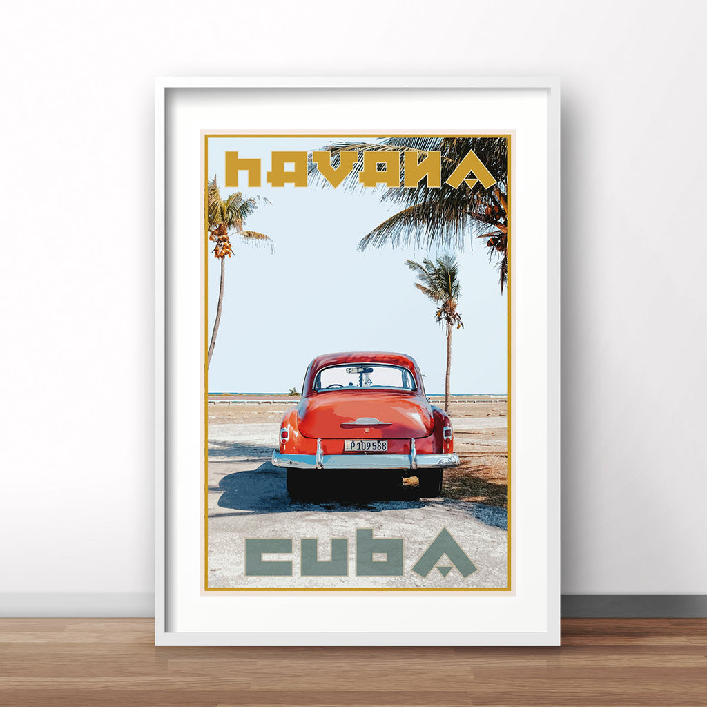 Cuba vintage travel style white framed print by places we luv