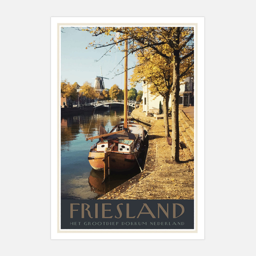 Friesland vintage travel style print by places we luv
