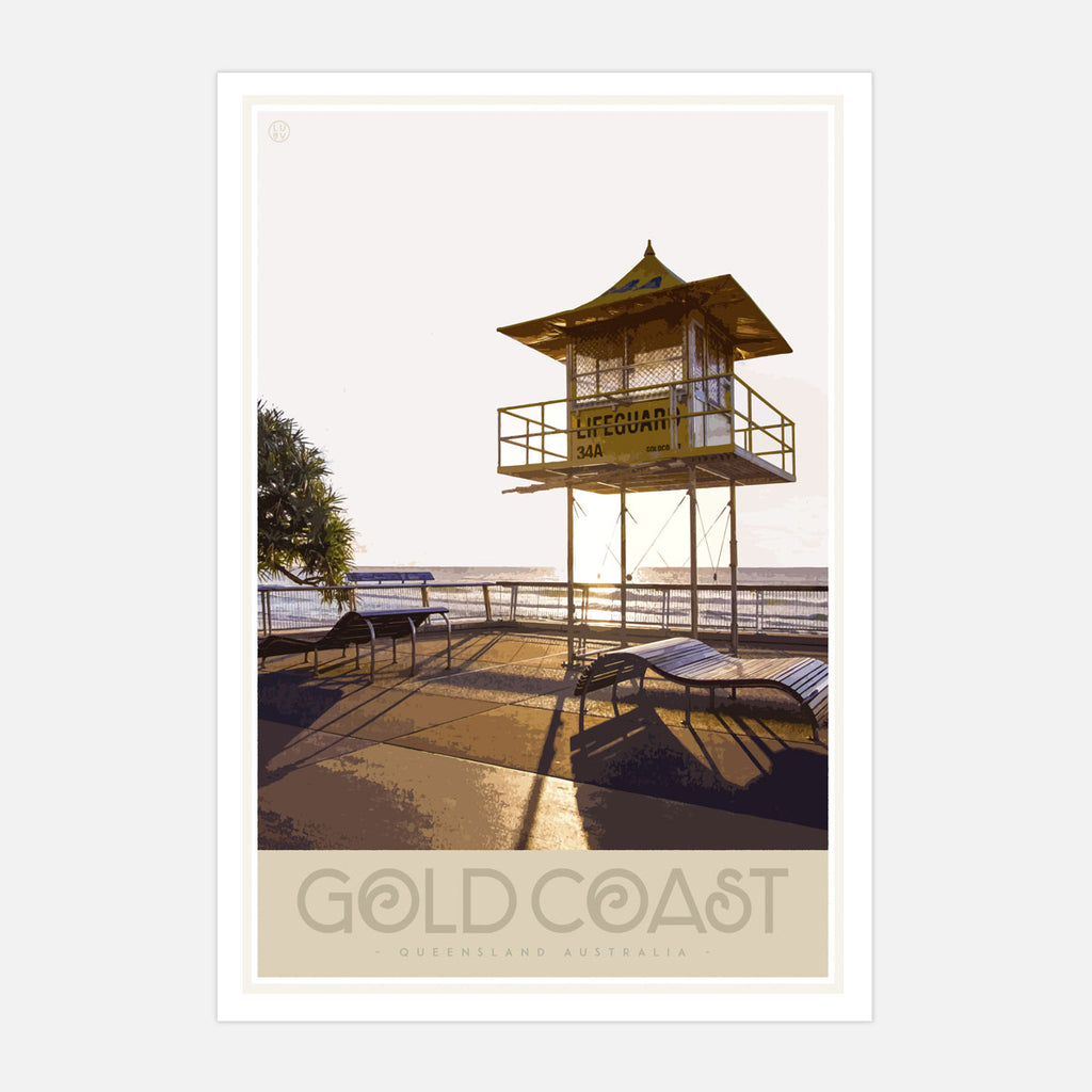 Gold Coast vintage travel print by places we luv