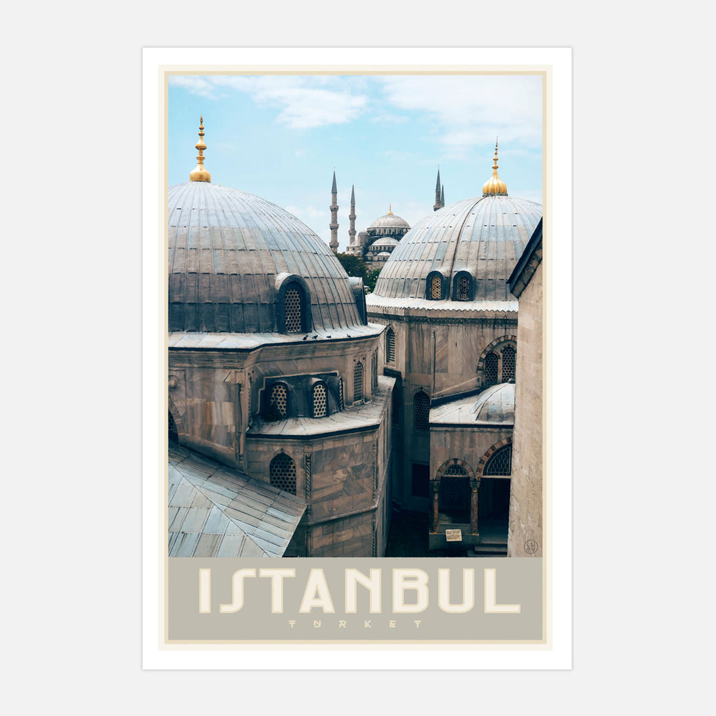 Istanbul Turkey vintage travel style poster by placesweluv