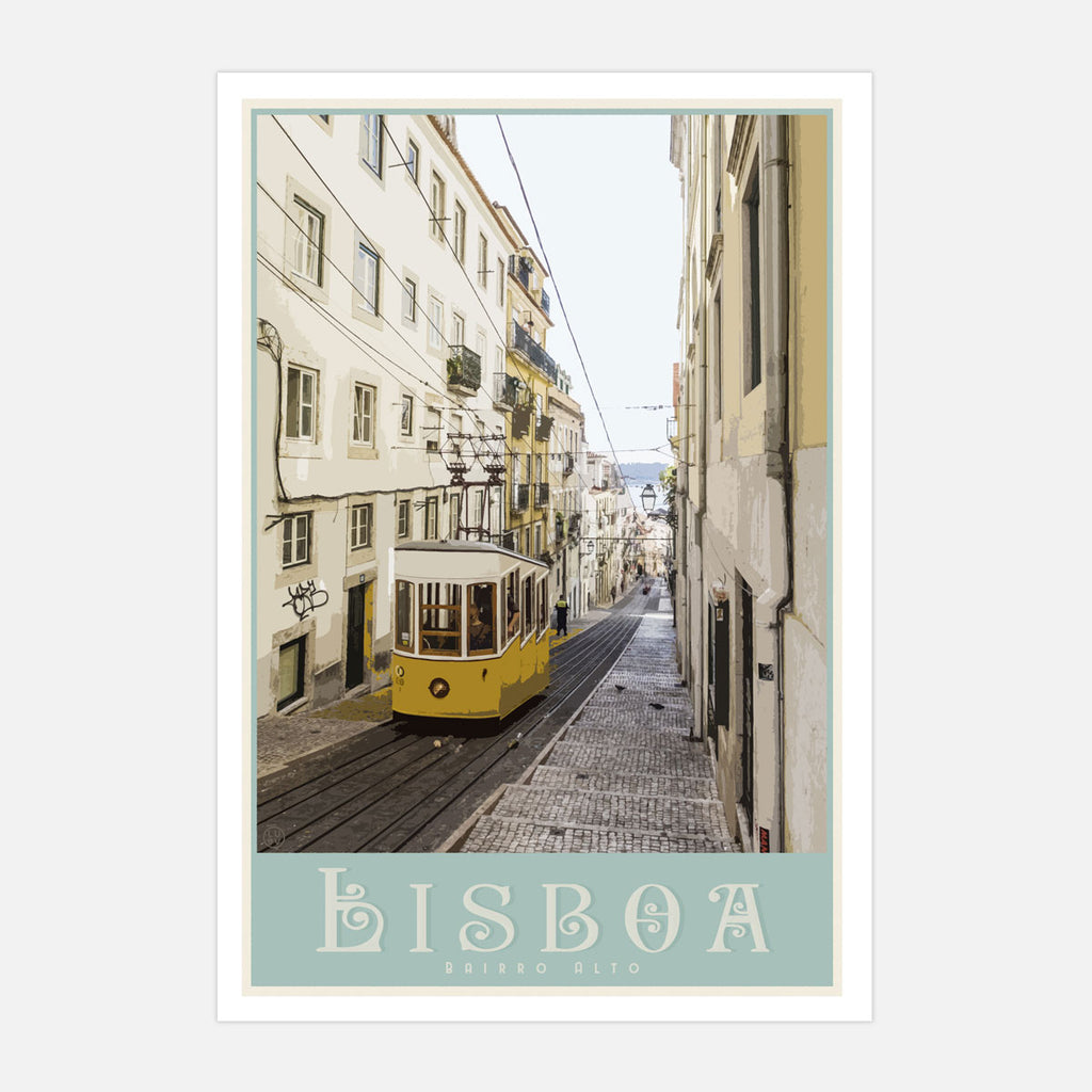 Lisbon travel print. Vintage travel style poster by places we luv