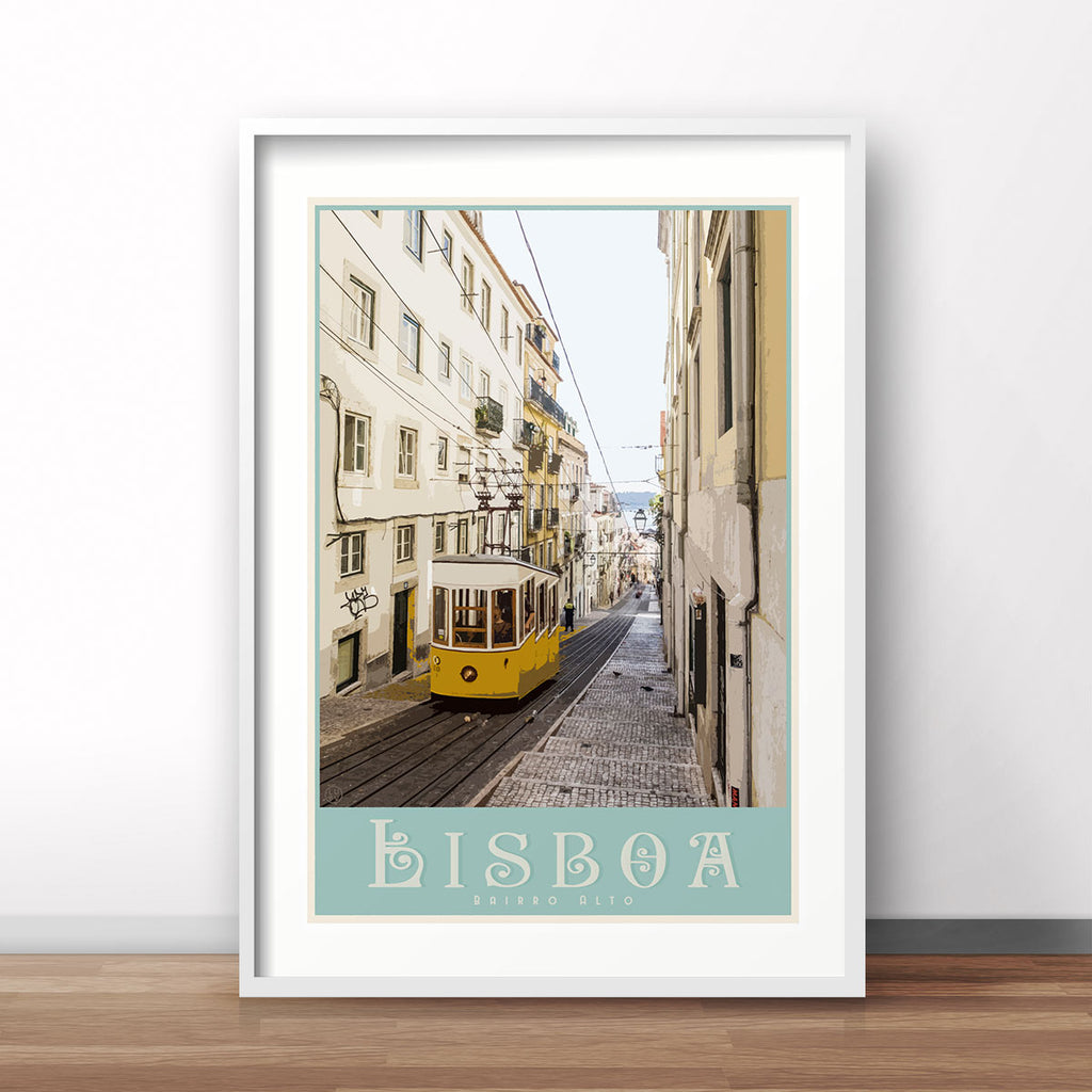Lisbon travel print. Vintage travel style print by places we luv