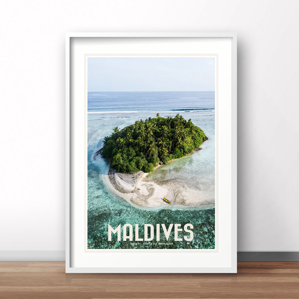 Maldives travel vintage style poster by places we luv