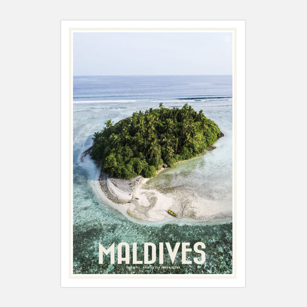 Maldives travel vintage style print by places we luv