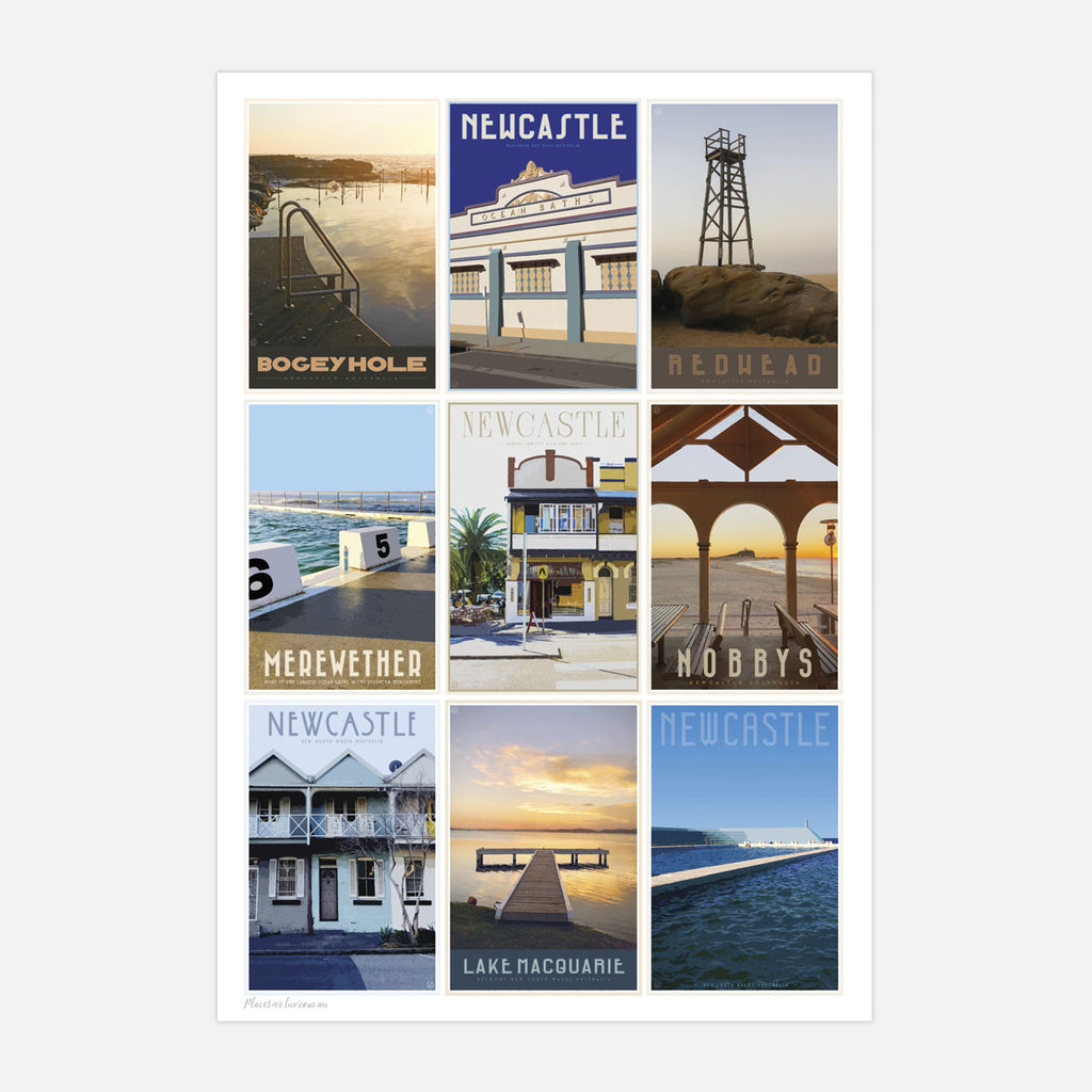 Newcastle beaches mixed vintage travel style print places we luv