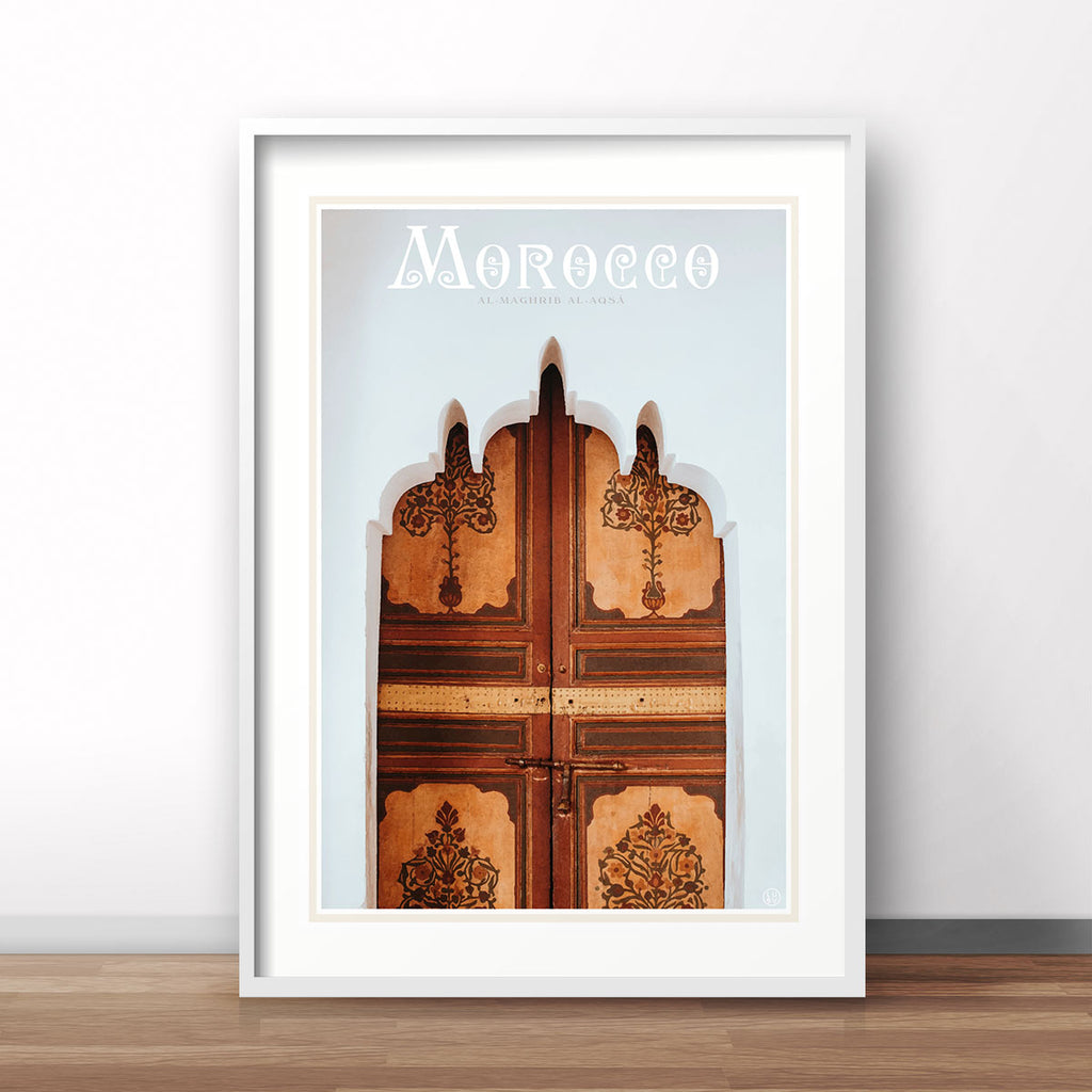 Morocco vintage travel style white framed print by places we luv
