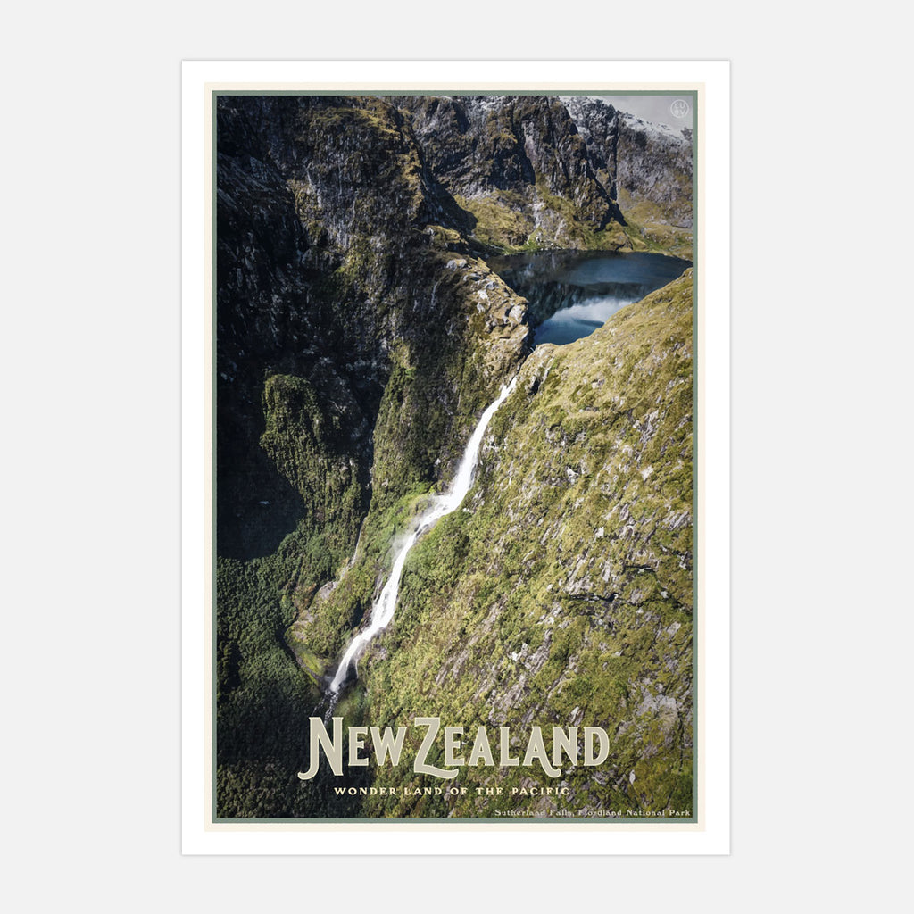 New Zealand vintage travel style poster by places we luv