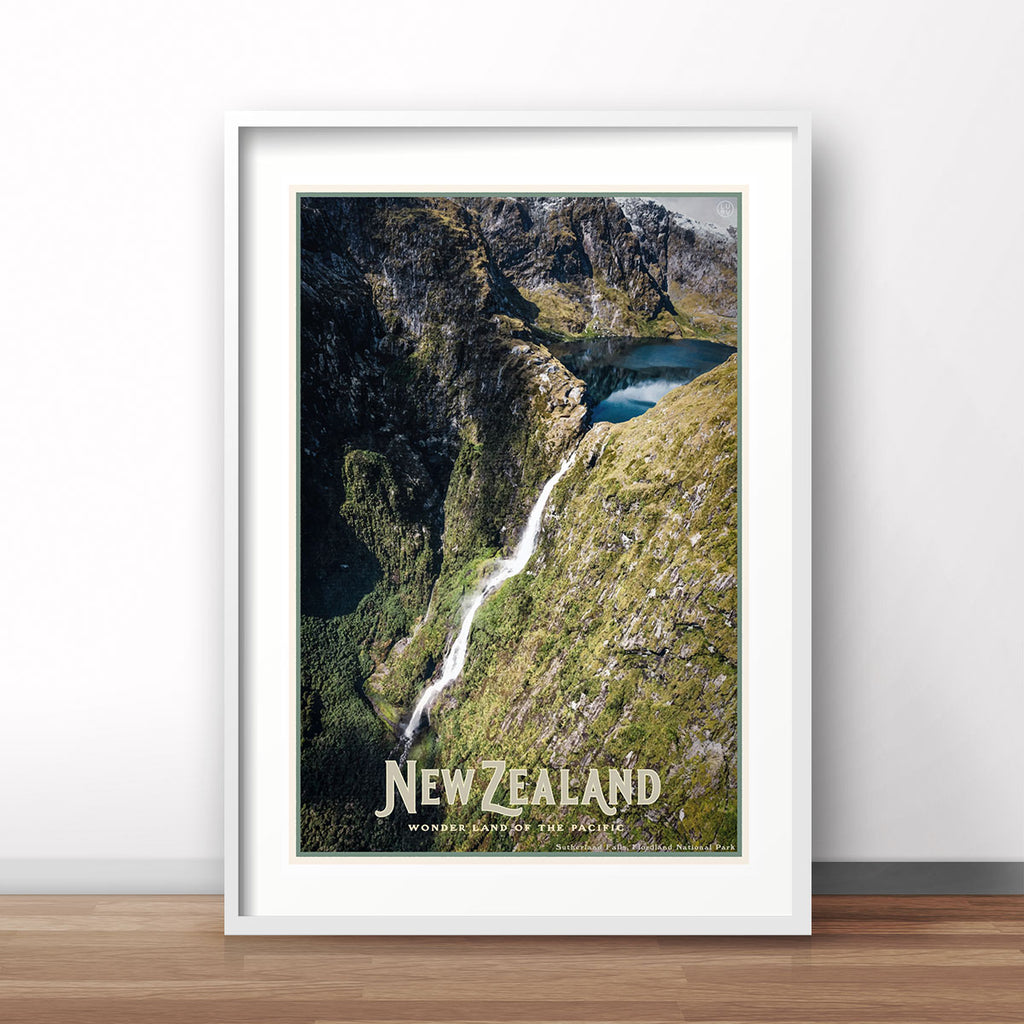 New Zealand vintage travel style framed poster by places we luv