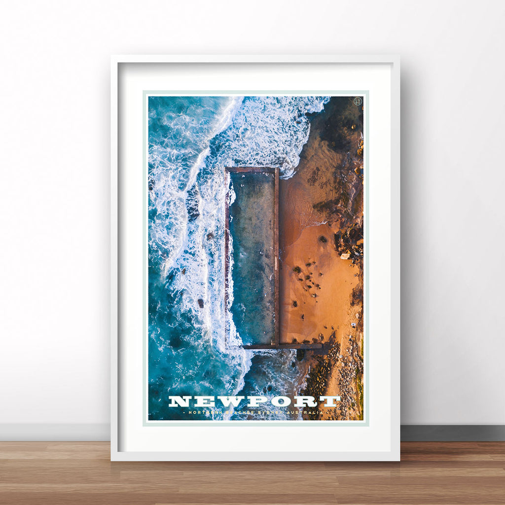 Newport Pool vintage travel style print by places we luv