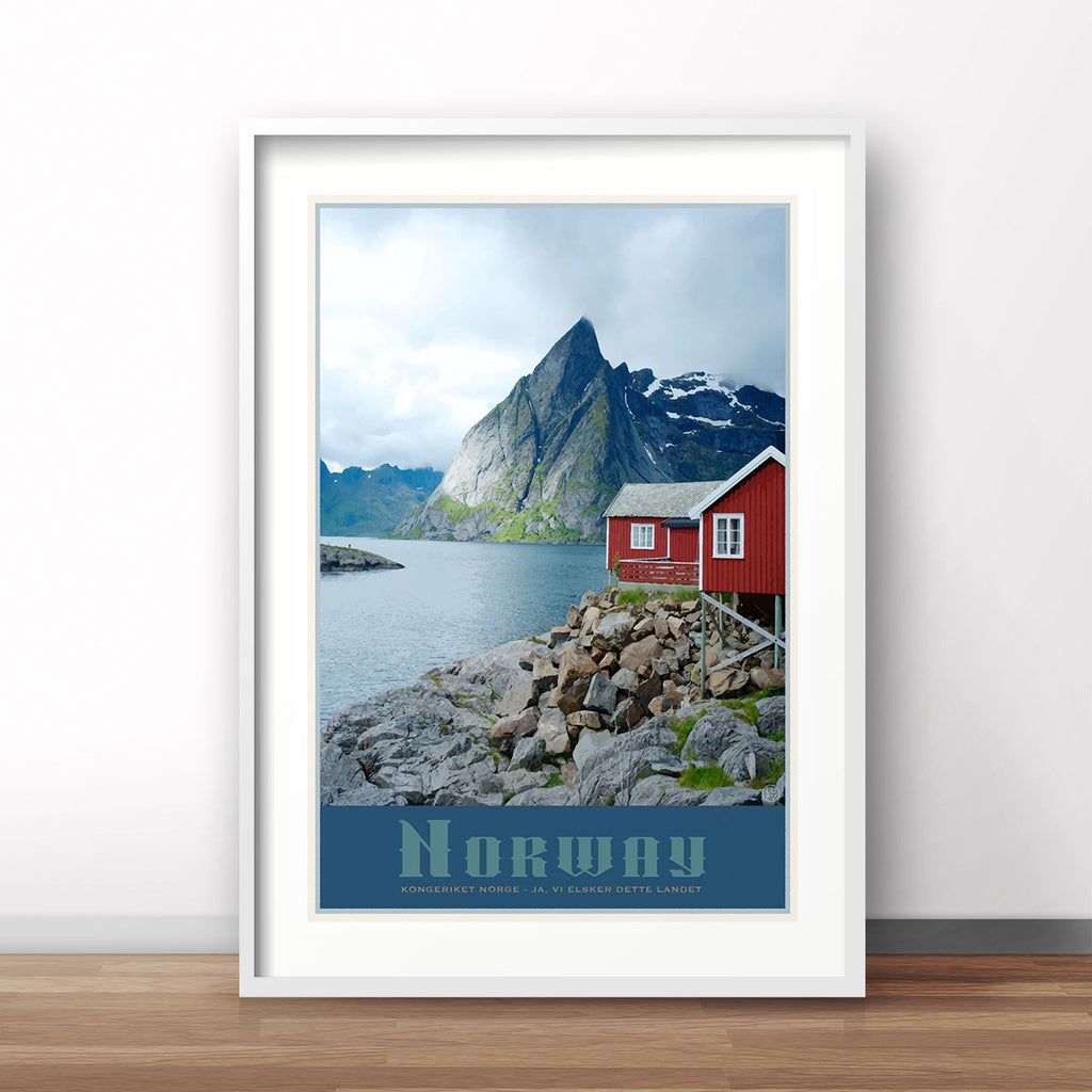 Norway vintage travel style poster by placesweluv