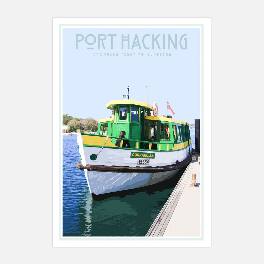 Port Hacking Cronulla vintage travel style poster by placesweluv