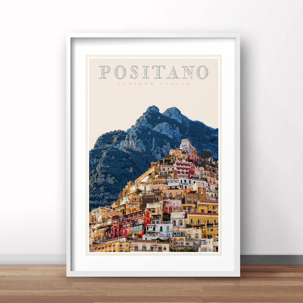 Positano vintage travel style poster by places we luv