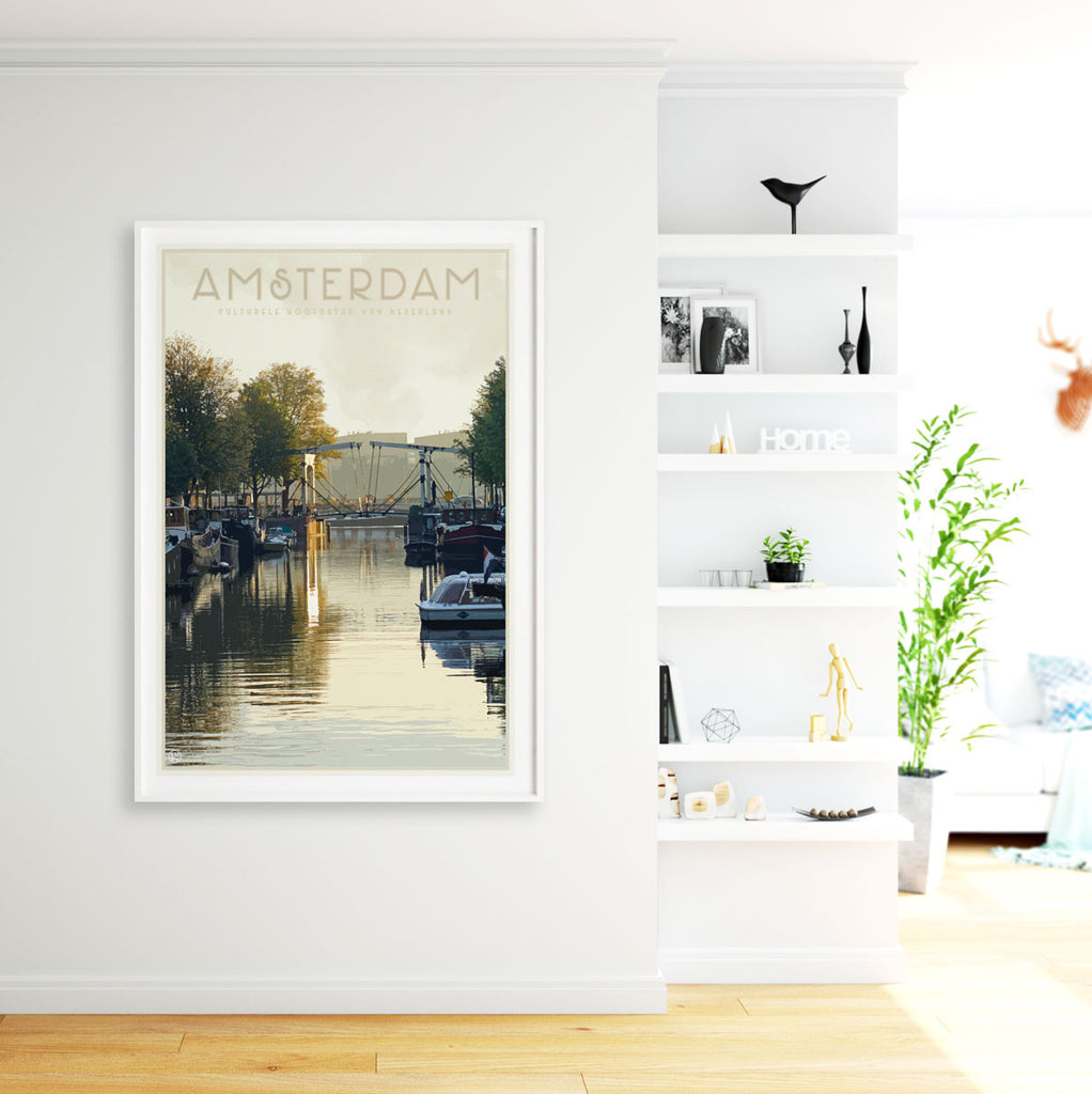 Amsterdam vintage framed travel style print by places we luv
