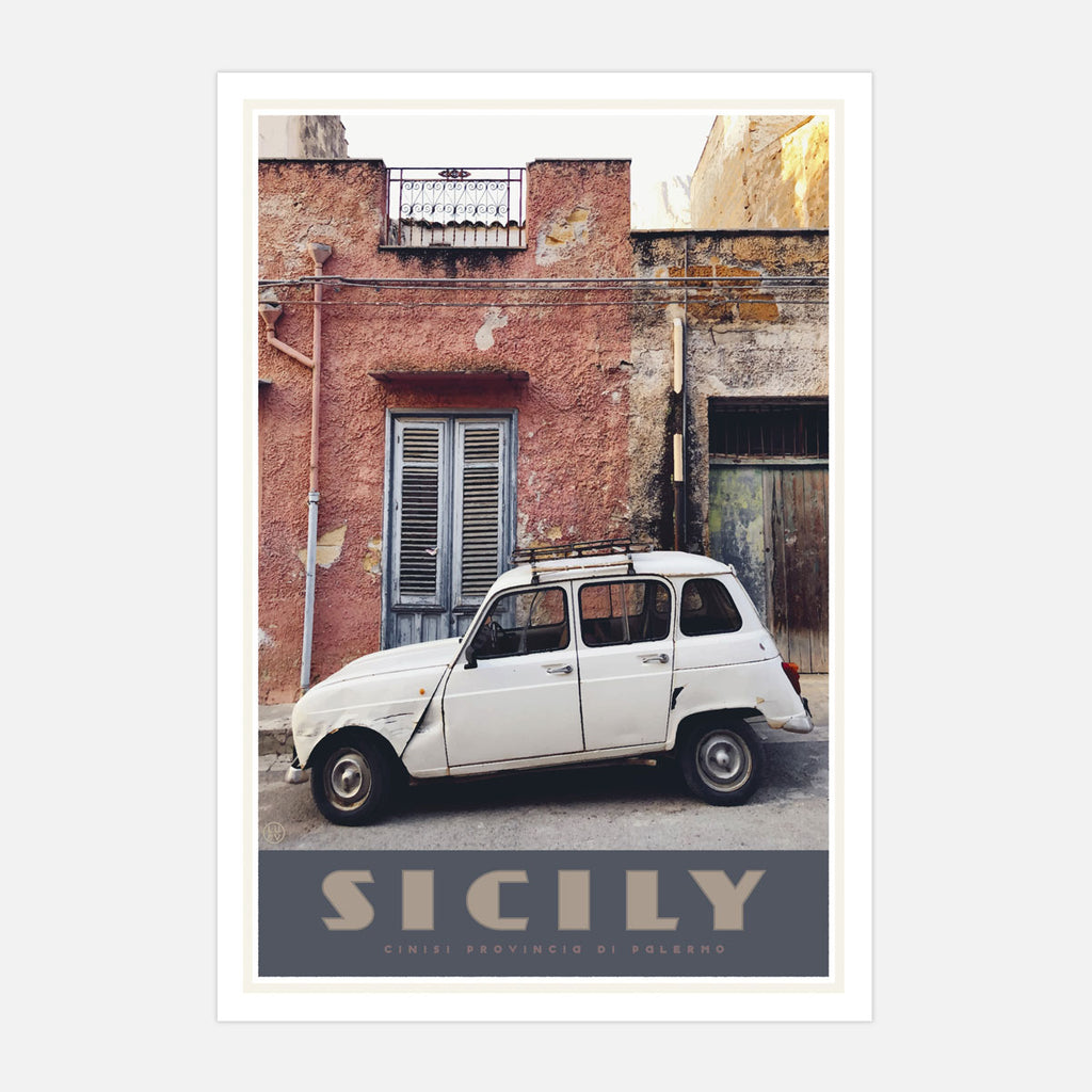 Sicily Renault vintage travel poster by Places We Luv