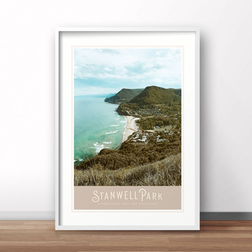 Stanwell Park vintage travel style print by Places We Luv