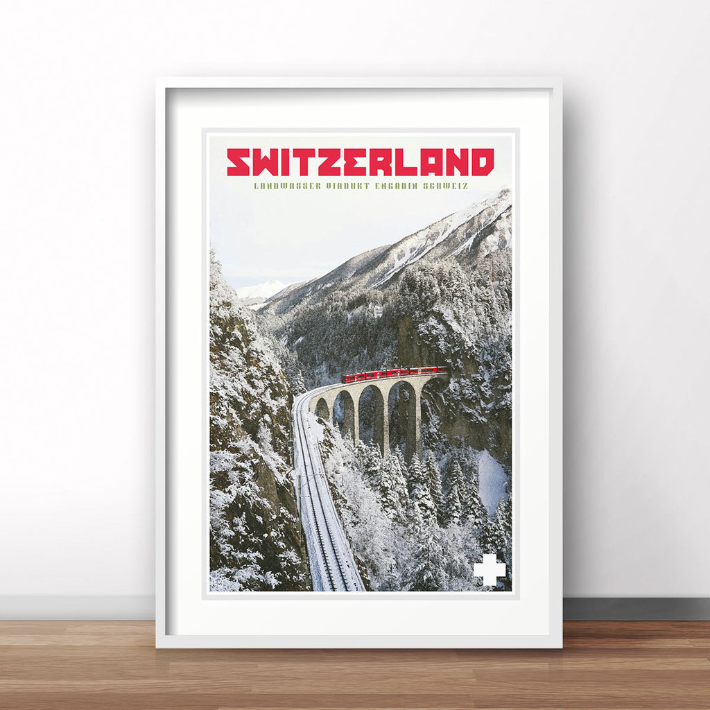 Switzerland vintage travel poster by Places We Luv