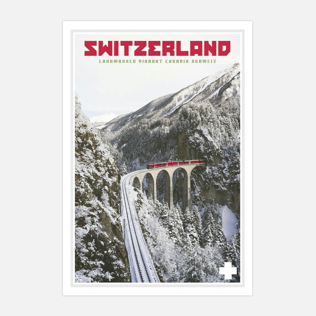 Switzerland travel poster by Places We Luv