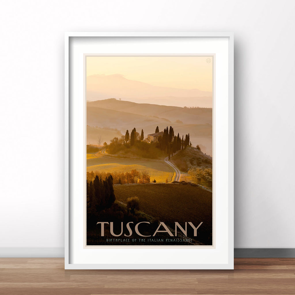 Tuscany vintage travel poster designed by Placesweluv