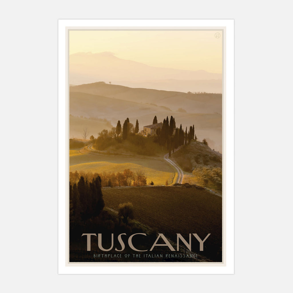 Tuscany travel poster and framed prints designed by Placesweluv